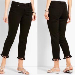 NWOT Talbots Tassel Hem Denim Straight Crop Jean 2
